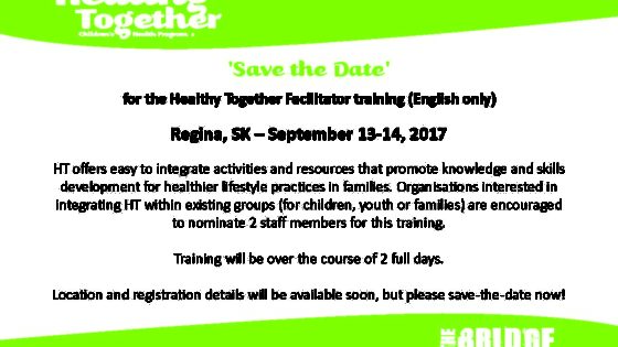 'Save the Date' for the Healthy Together Facilitator training (English only)